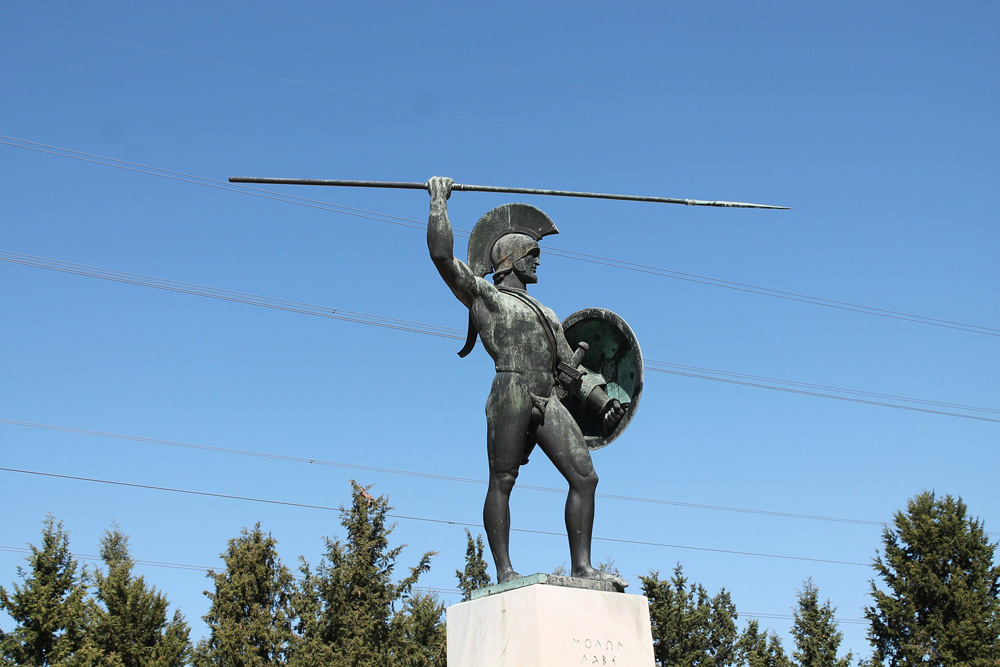 Memorial of the Spartan King Leonidas at Thermopylae